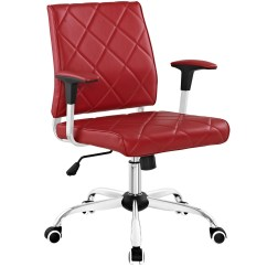 Office Chair Red Massage Inada Lattice Modern Patterned Vinyl With Chrome
