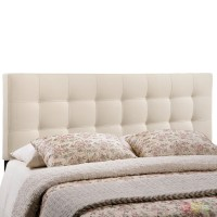 Lily Contemporary Fabric Button-tufted Full Headboard, Ivory