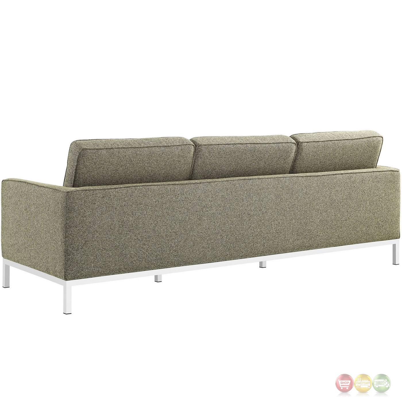 oatmeal sofa set pet for large dogs loft modern 2pc upholstered button tufted and armchair