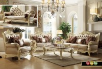 Traditional Living Room Set w/Pearl Bonded Leather and ...
