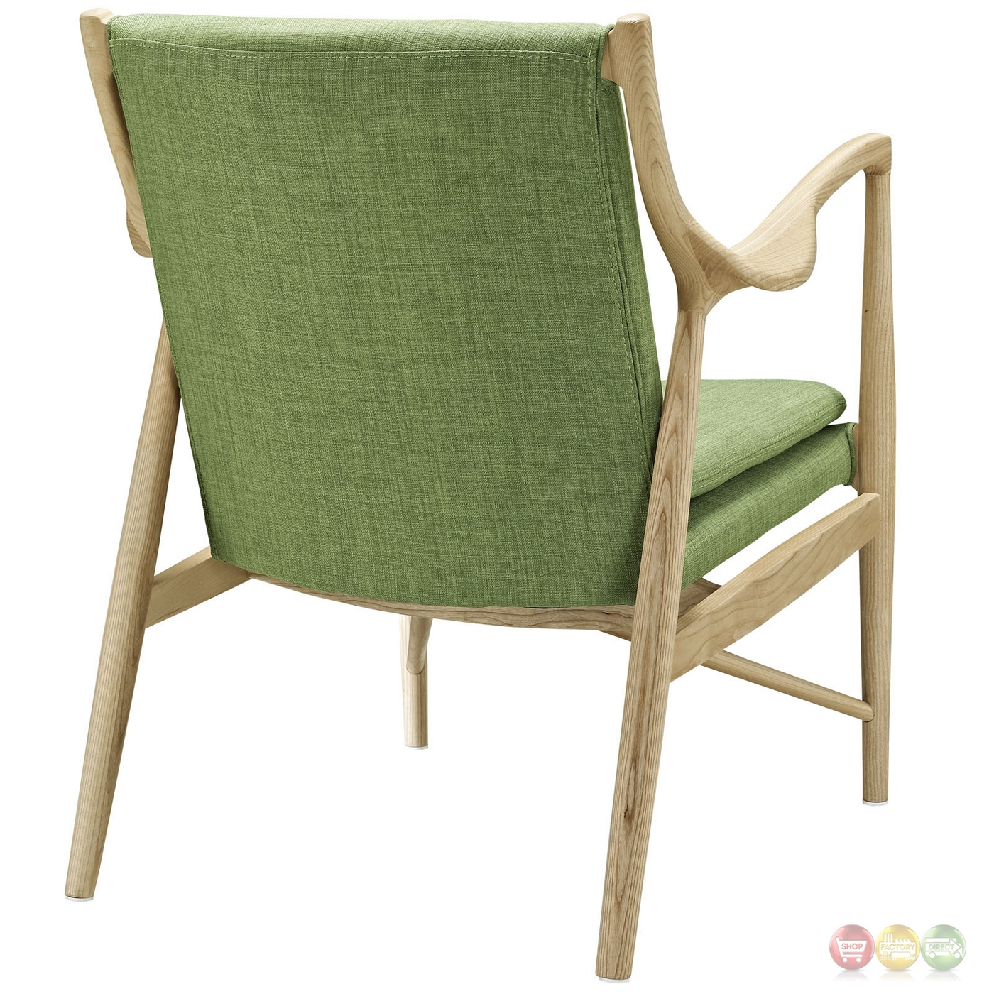 green lounge chair banquet covers ebay makeshift modern upholstered with ash wood