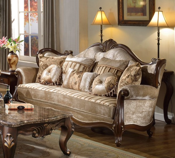 Marseille French Provincial Beige Chenille Sofa & Loveseat