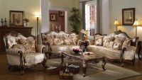 Marseille French Provincial Beige Chenille Sofa & Loveseat ...