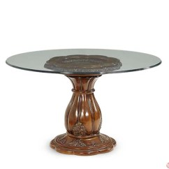 Round Glass Kitchen Tables How To Replace Cabinets Michael Amini Lavelle Melange 54 Inch Top