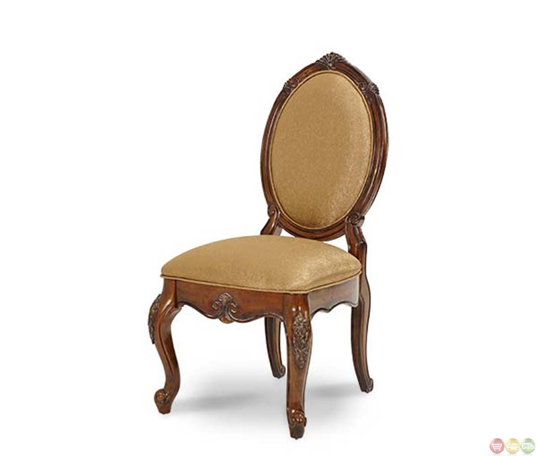 Oval Back Chair Michael Amini Lavelle Oval Shaped Back Melange Finish 2