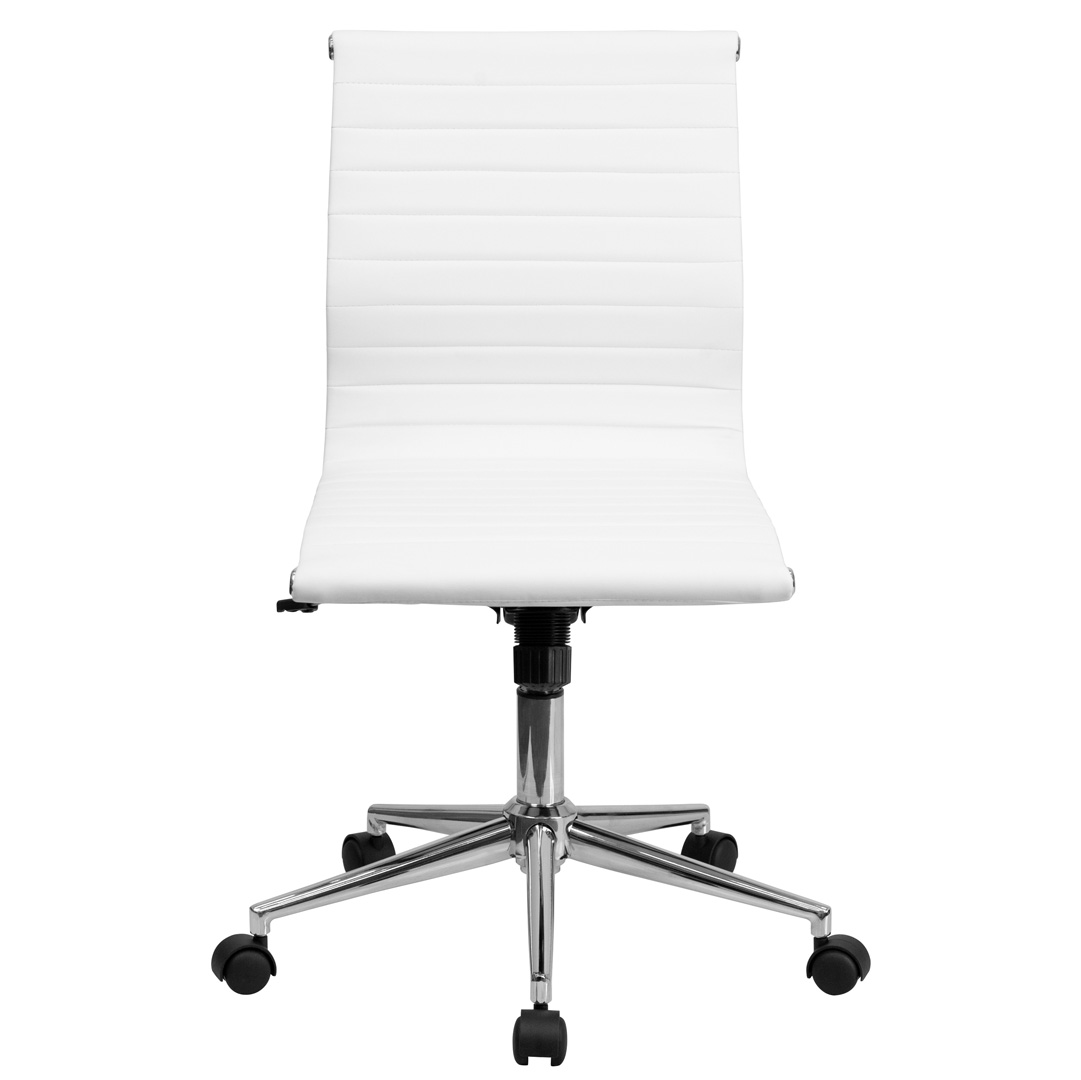 Armless Desk Chairs Mid Back Armless White Ribbed Upholstered Leather