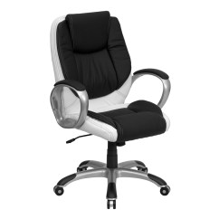 White Leather Swivel Desk Chair Replacement Seats Mid Back Black And Executive Office