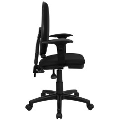 Ergonomic Task Chair Lumbar Support Tiffany Blue Sashes Mid Back Black Fabric Multi Functional With