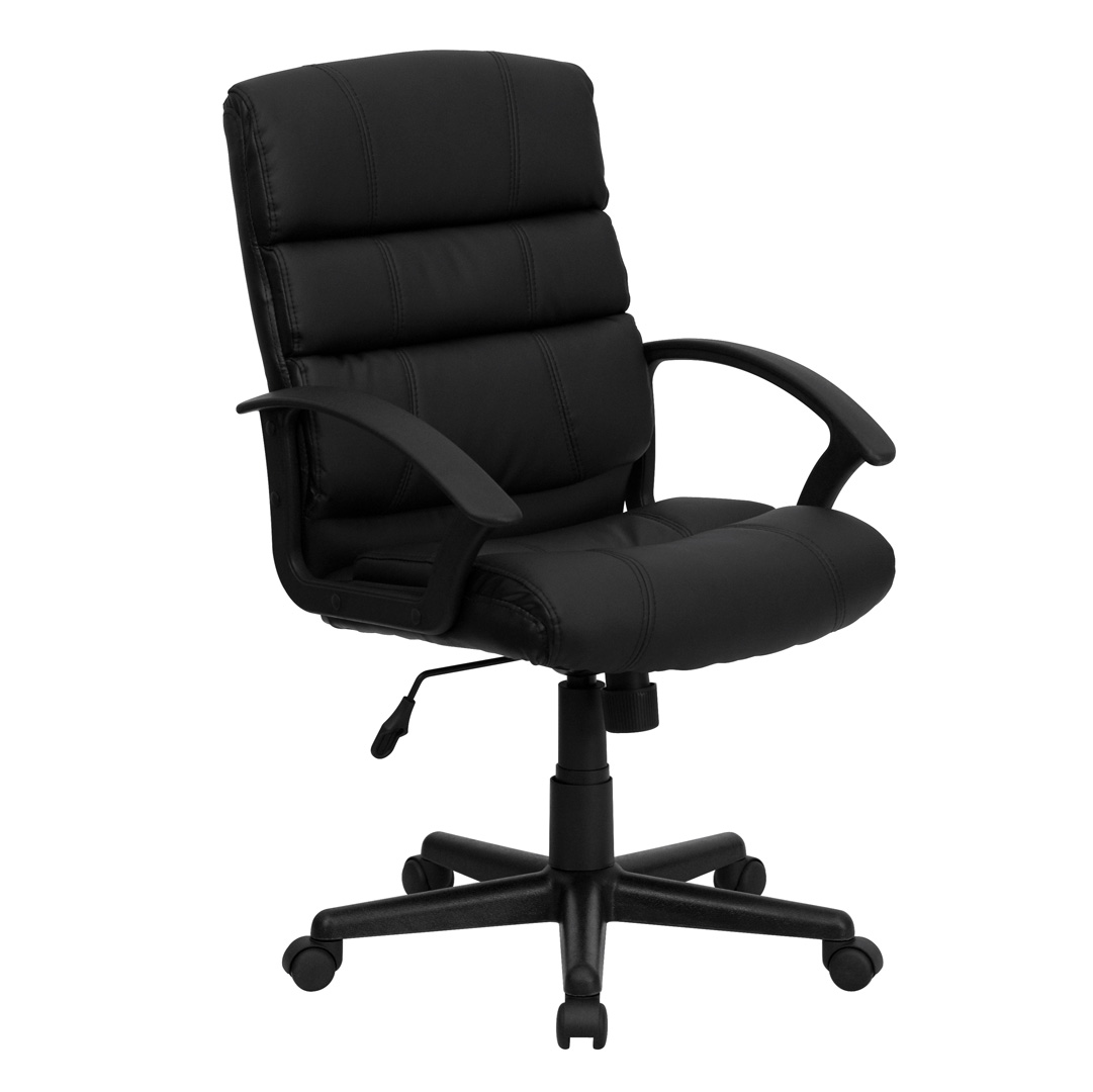 Black Office Chairs Mid Back Black Leather Office Chair Go 1004 Bk Lea Gg