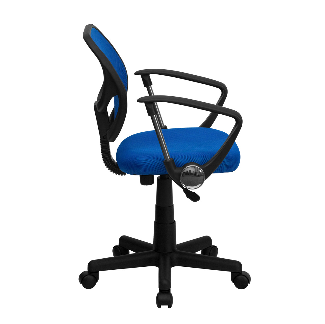 Blue Computer Chair Mid Back Blue Mesh Task Chair And Computer Chair With Arms