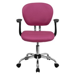 Mesh Task Chair Nautical Cushions Mid Back Pink With Arms And Chrome Base H