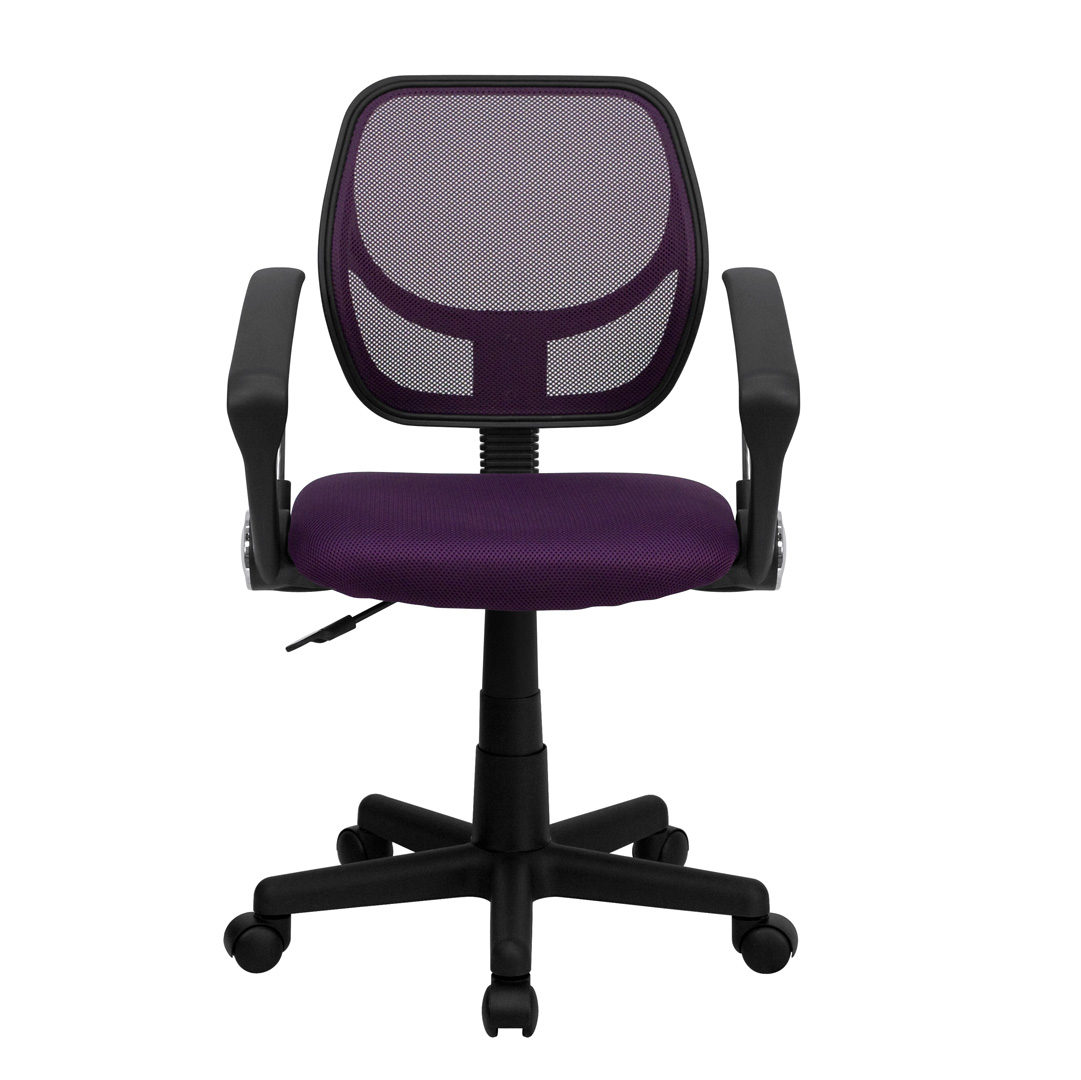 computer chair with arms navy blue accent mid back purple mesh task and