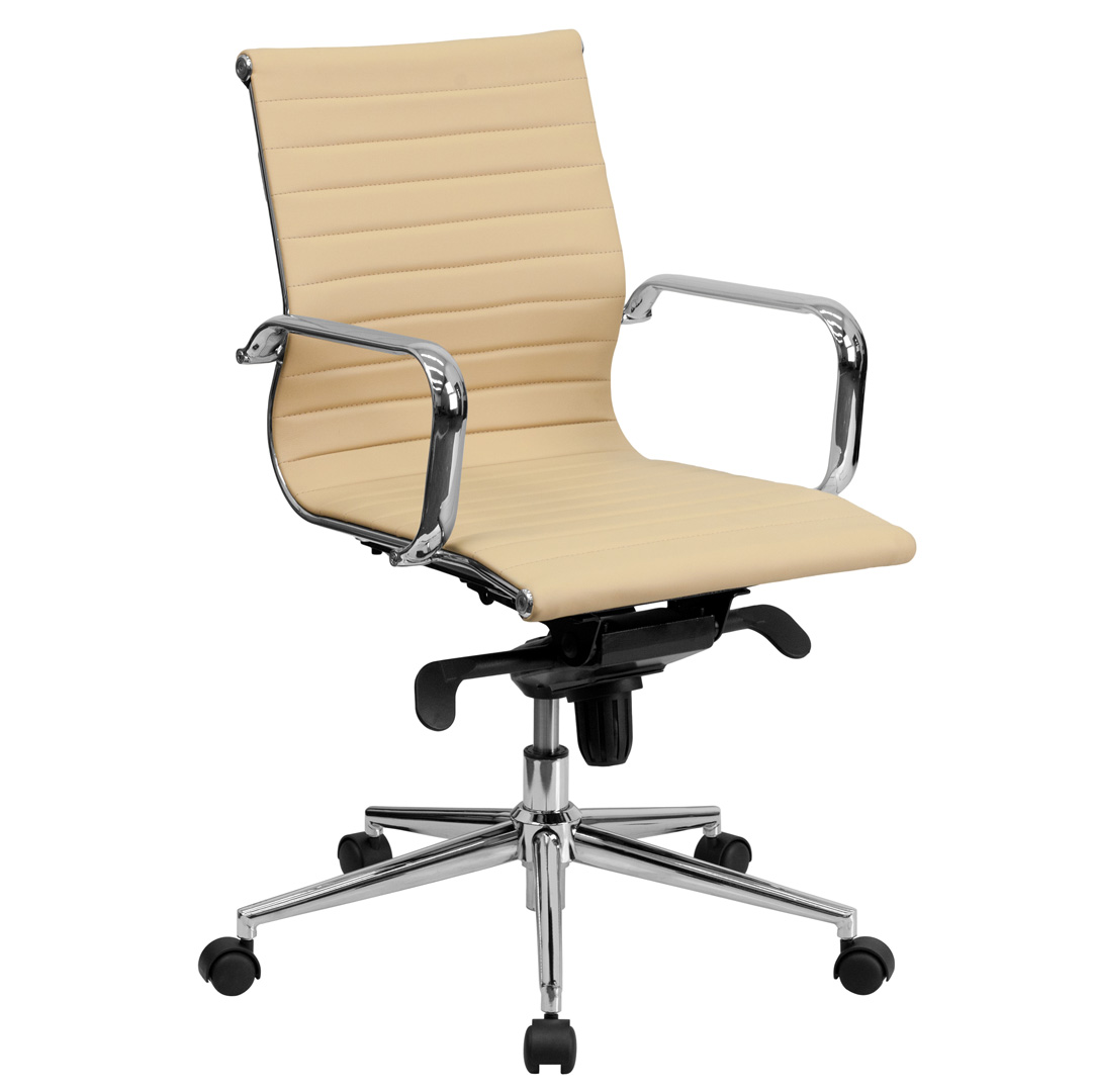 Leather Conference Room Chairs Mid Back Tan Ribbed Upholstered Leather Conference Chair