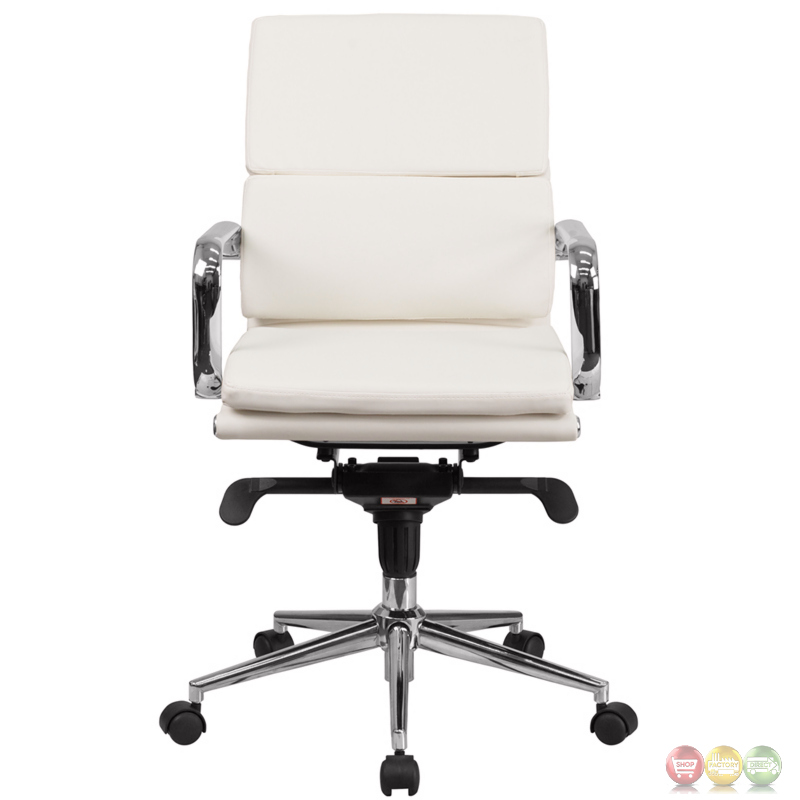 Midback White Leather Executive Swivel Office Chair With