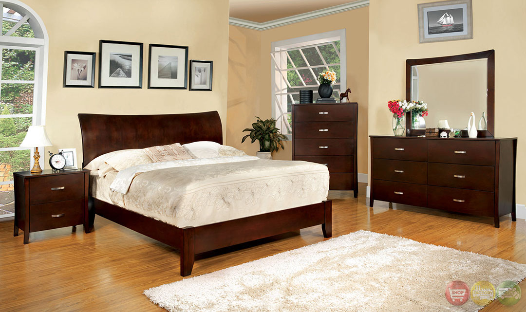 Midland Contemporary Brown Cherry Bedroom Set with Wooden