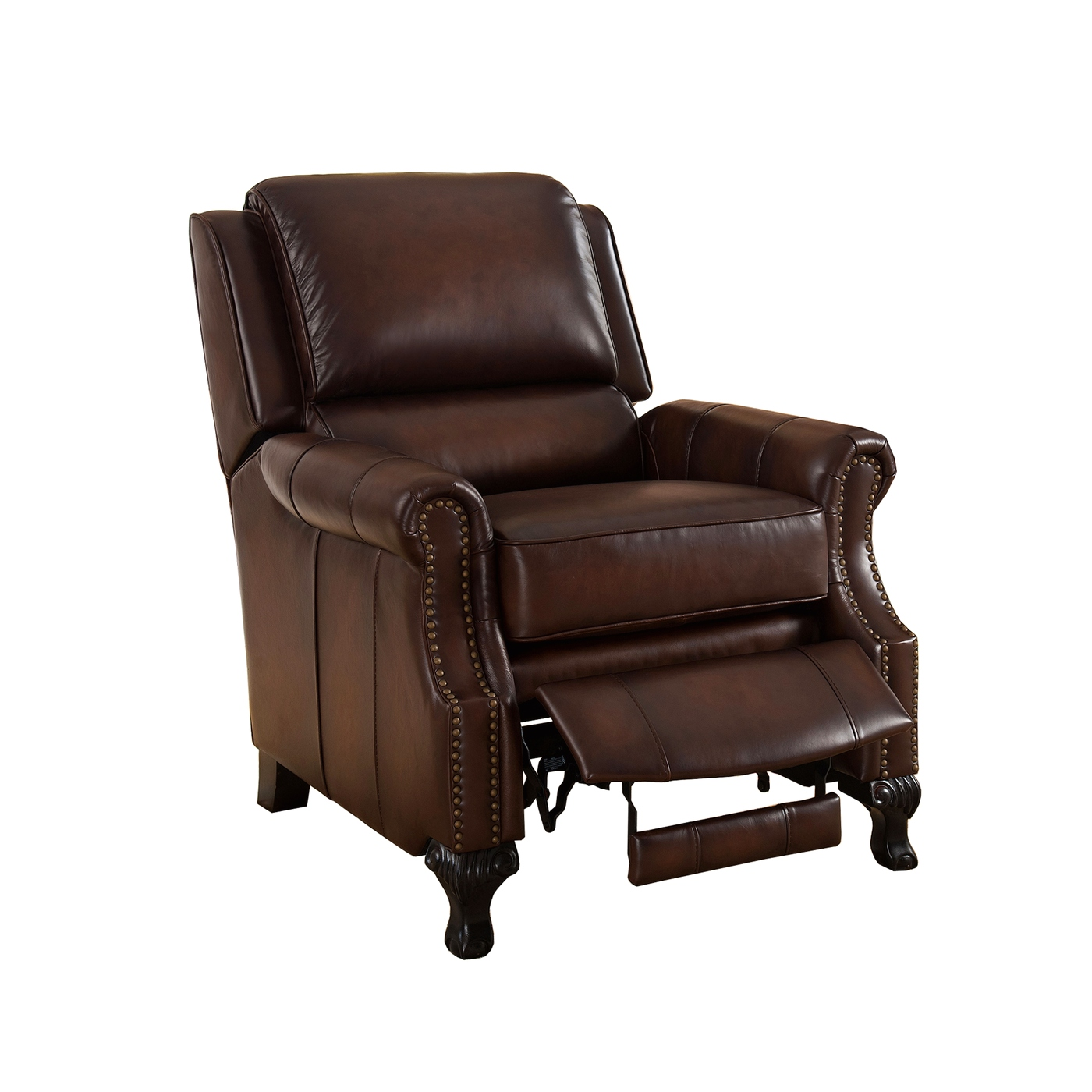 Real Leather Recliner Chairs Milari Traditional Genuine Real Brown Leather Pushback