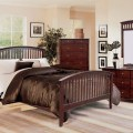 Mission style cappuccino finish bedroom furniture set