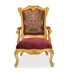 Victorian Accent Chair Hardwood Floor Protectors For Chairs Monique Ruby Red Embroidered In