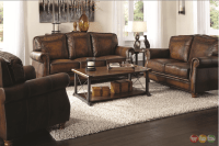 Montbrook Traditional Brown Genuine Leather Sofa Set ...