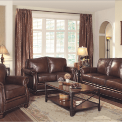 Leather Nailhead Sofa Set Collections Montbrook Traditional Brown Genuine
