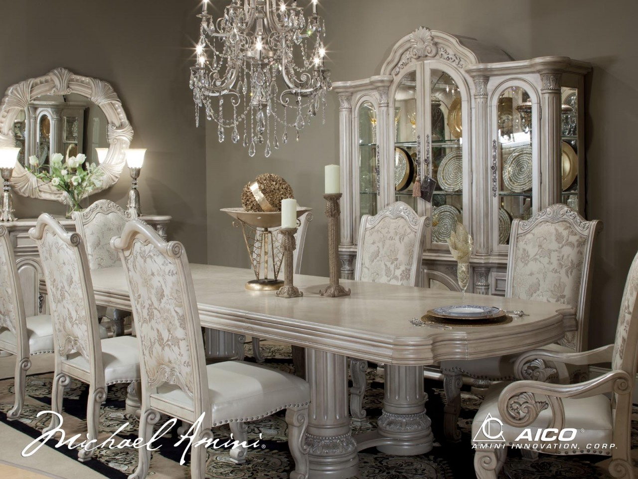 steve silver dining chairs chair cushions with ties australia michael amini monte carlo pearl ii traditional room set by aico