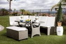 Naples Casual Outdoor Patio Sectional Dining Set In White