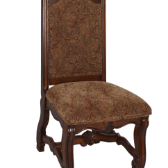 Set Of 2 Dining Chairs All Leather Recliner Neo Renaissance Traditional Formal Upholstered Side