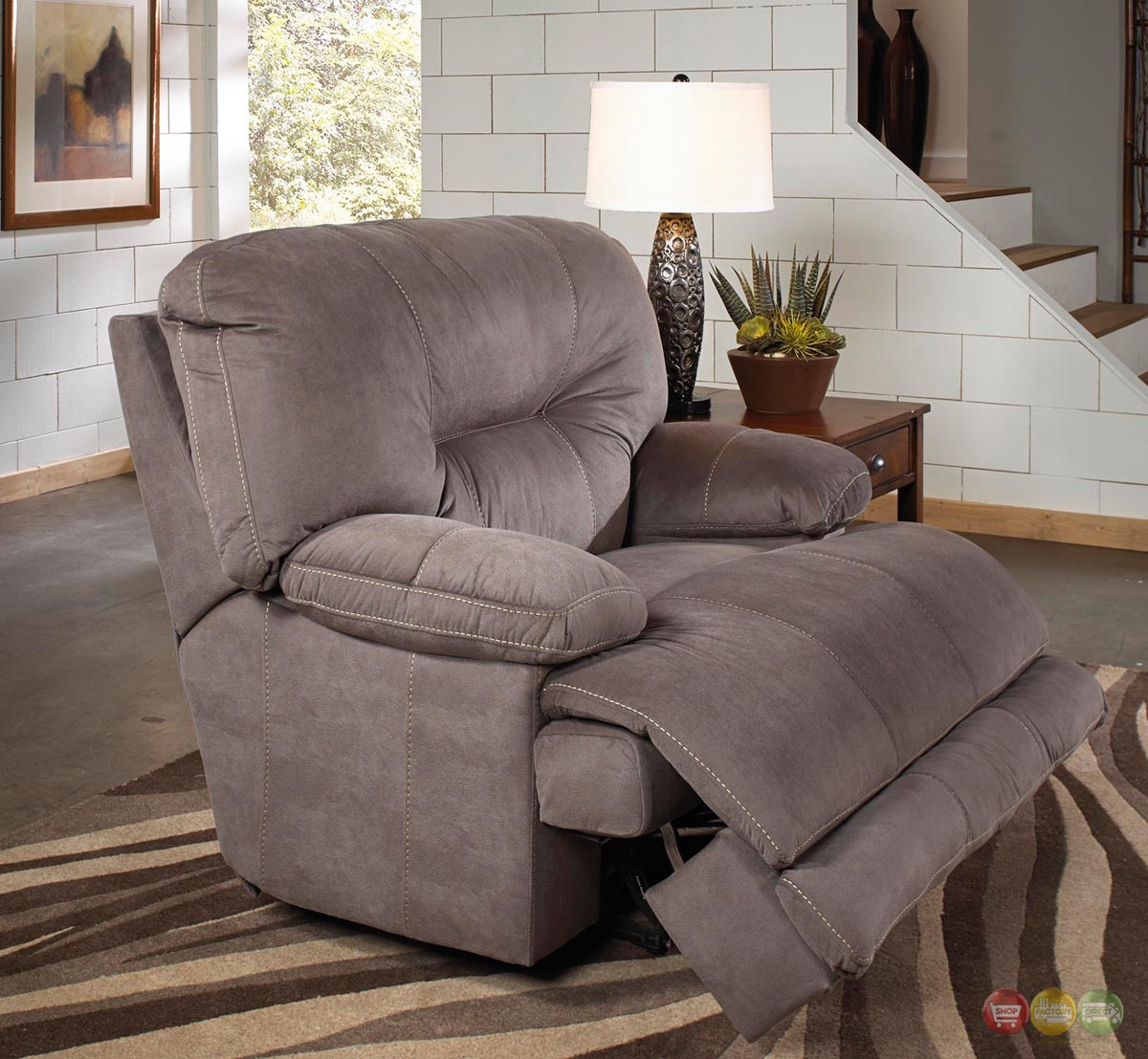 Grey Oversized Chair Noble Slate Gray Lay Flat Cuddler Recliner Oversized