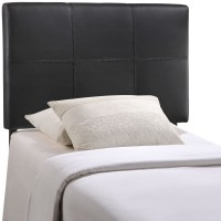 Oliver Modern Faux Leather Upholstered Twin Headboard, Black