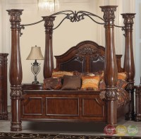 Omar Traditional Cherry Canopy Bedroom Set with Carved ...