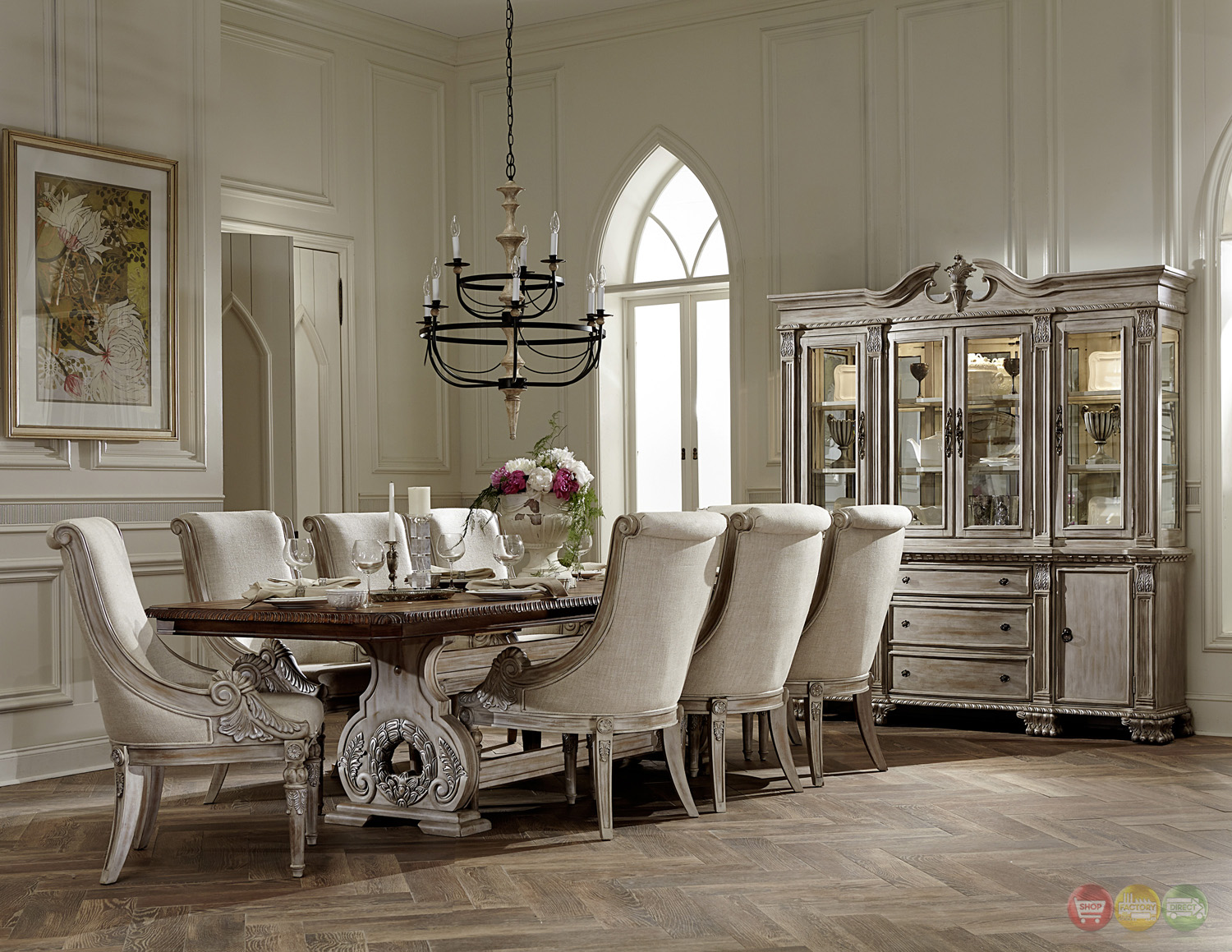 elegant dining room chairs how to reupholster orleans ii white wash traditional 7pc formal
