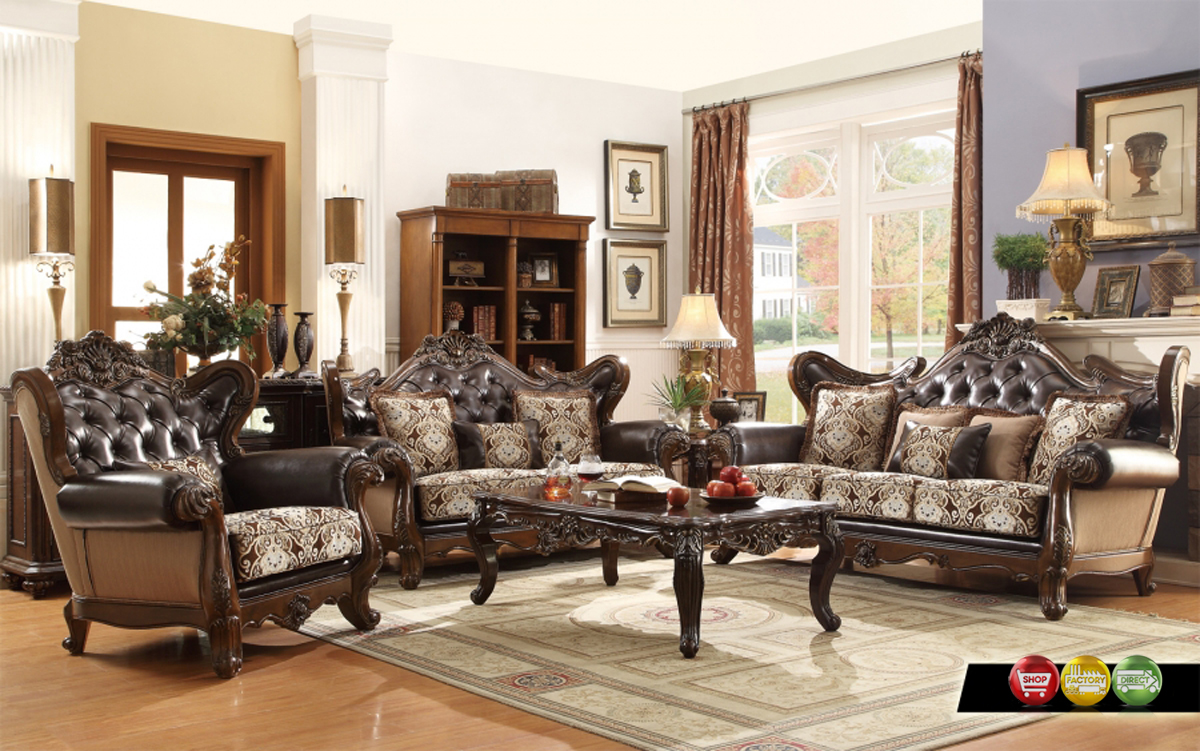 Ornate Antique Style French Provincial Traditional Brown