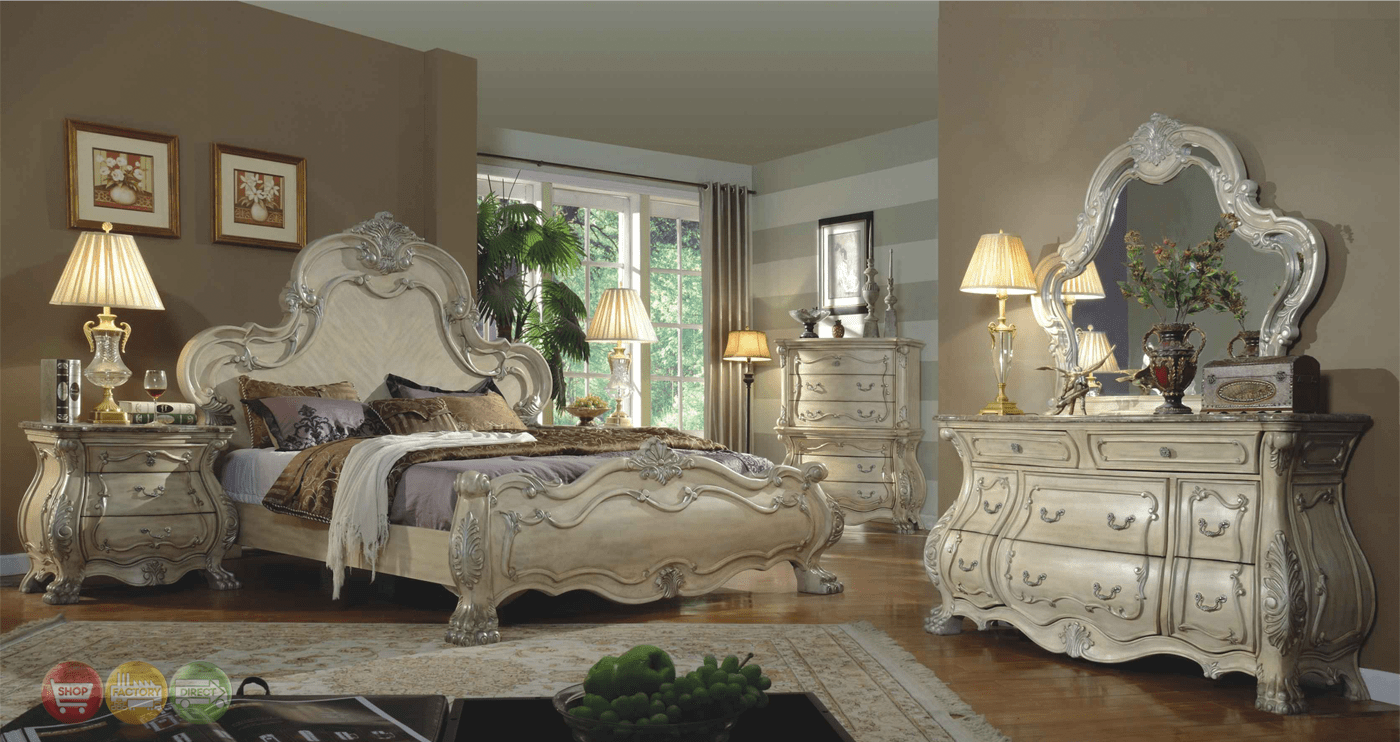 Traditional Antique White Victorian Queen Mansion Bed 4pc