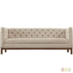 Modern Square Sofa Simmons Sofas At Sears Panache Vintage Button Tufted Upholstered Beige