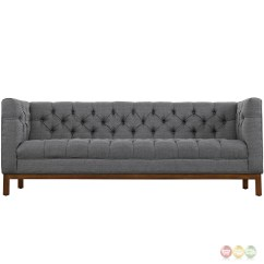 Tufted Gray Sofa Diy Murphy Bed Panache Vintage Square Button Upholstered