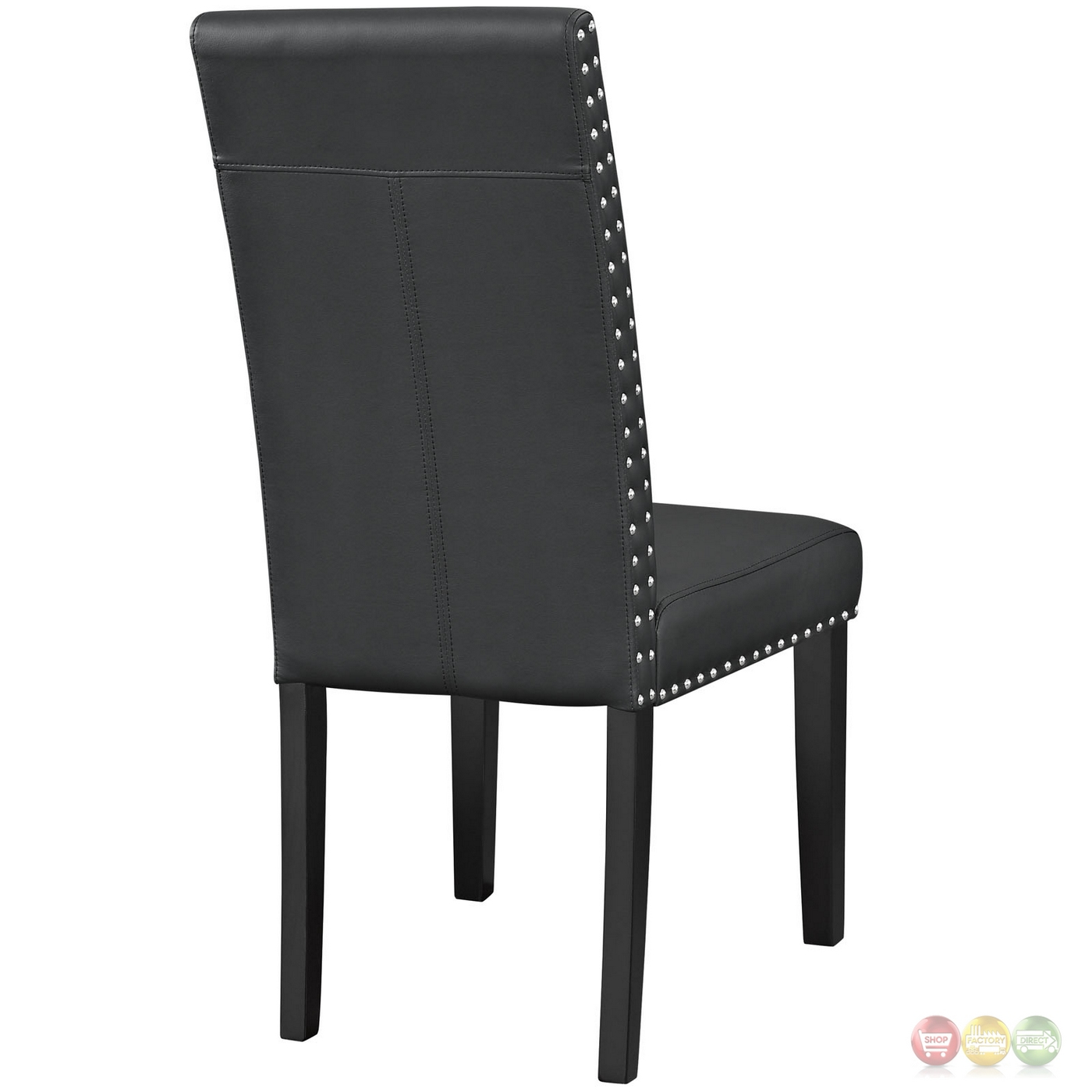 Leather Dining Chairs With Nailheads Parcel Contemporary Faux Leather Dining Side Chair With