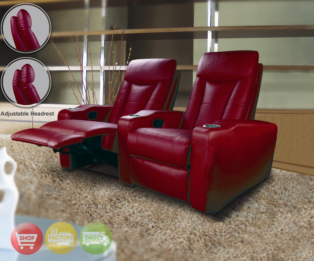 2 seat theater chairs sams office pavillion home seating red leather row of