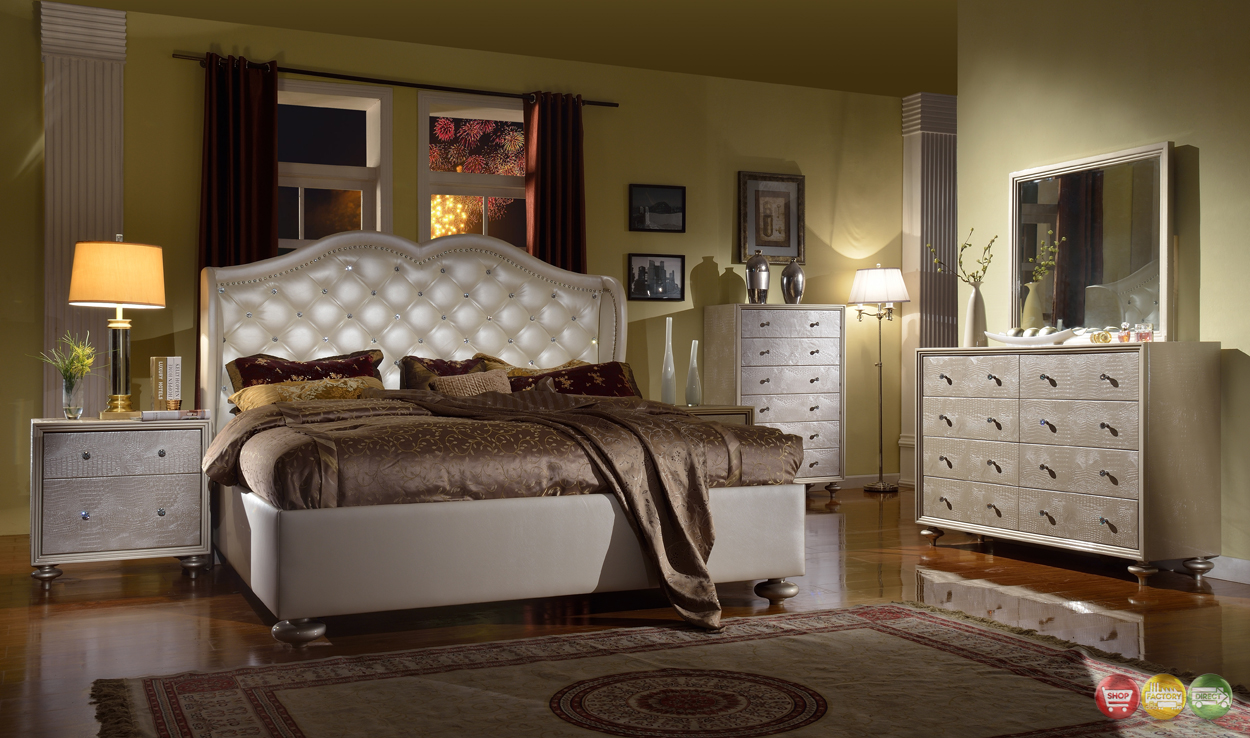 Pearl White Tufted Wing Back Bed Faux Croc Bedroom