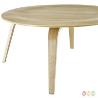 Plywood Modern Wood Grain Panel Round Coffee Table, Natural