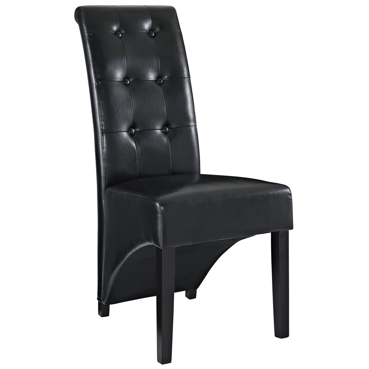 black tufted dining chair glider chairs on sale preside modern stylish button vinyl side