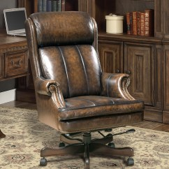 Brown Leather Computer Chair Rope Hammock Executive Office Desk Genuine