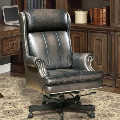 Grey Leather Desk Chair Scooter Store Executive Office Smoke Gray Genuine