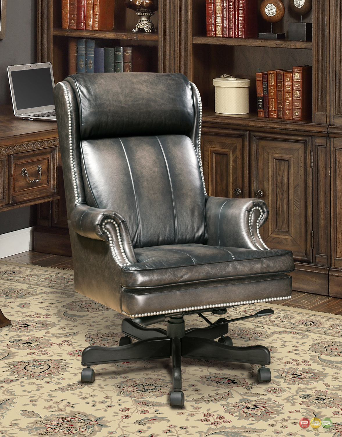 Genuine Leather Office Chair Executive Office Desk Chair Smoke Gray Genuine Leather