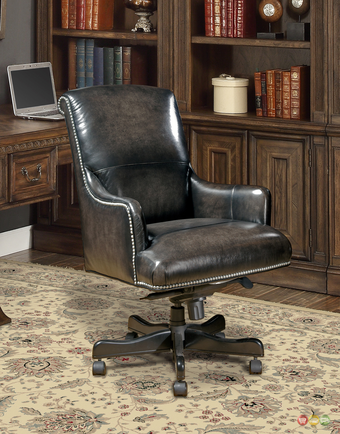 Real Leather Office Chair Brown Genuine Leather Office Desk Chair W Nailhead Trim