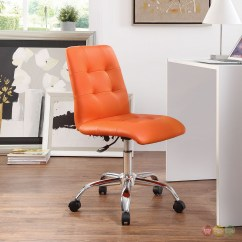 Office Chair Orange Ugly Covers Wedding Prim Modern Faux Leather Armless Mid Back