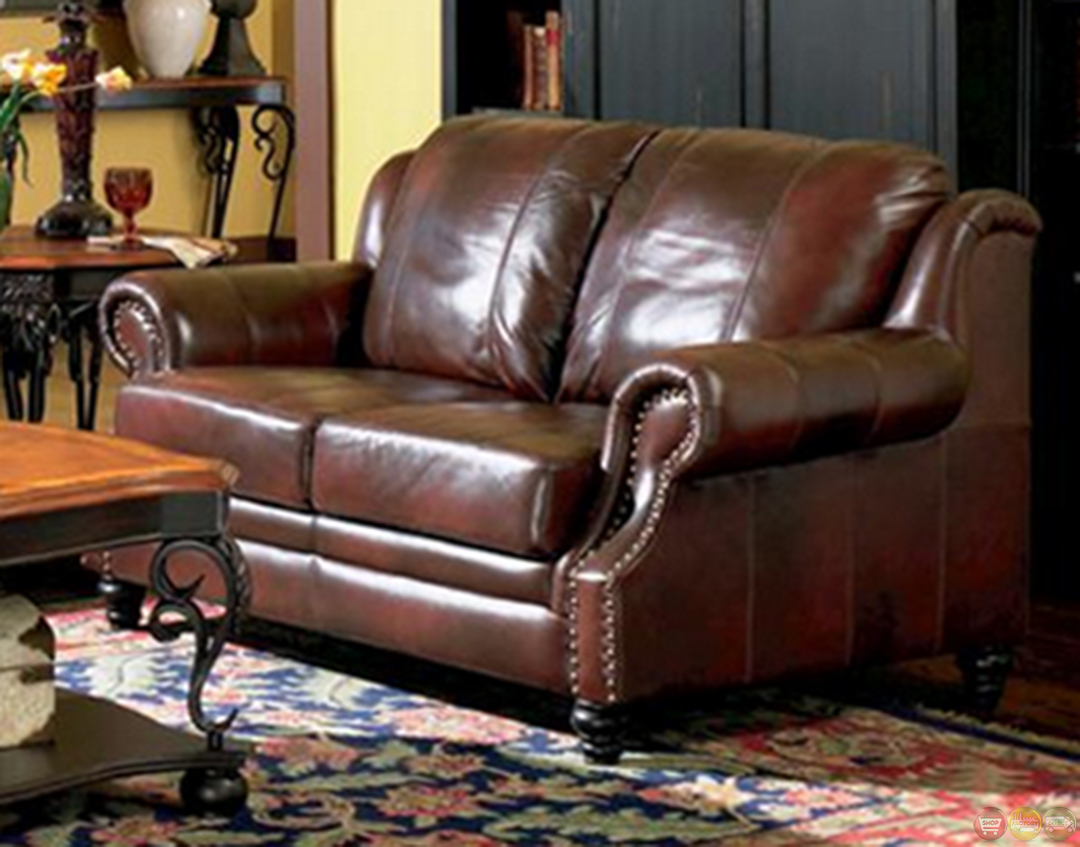 leather nailhead sofa set armrest covers for sale princeton genuine living room & loveseat tri ...