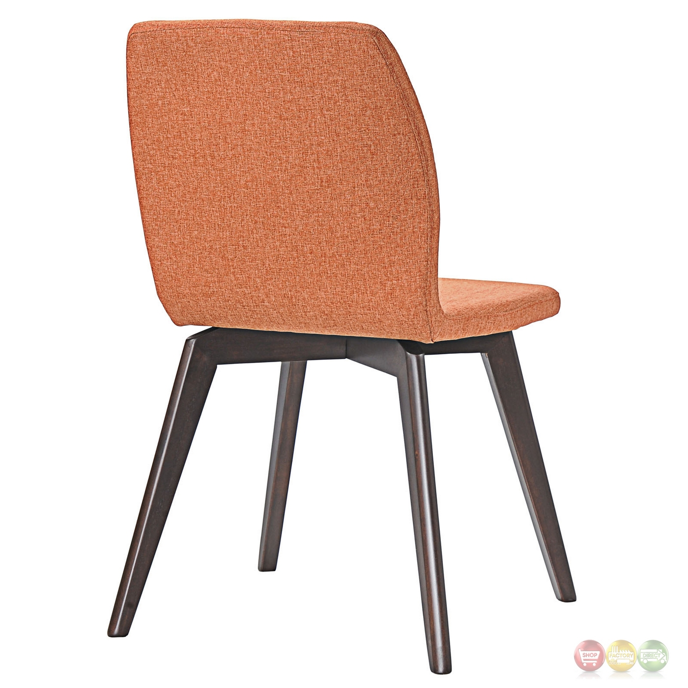 orange upholstered chair small lift chairs proclaim modern wooden dining side