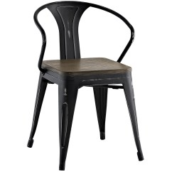 Distressed Black Dining Chairs Polywood Modern Folding Adirondack Chair Promenade Vintage Arm W Wooden Seat And