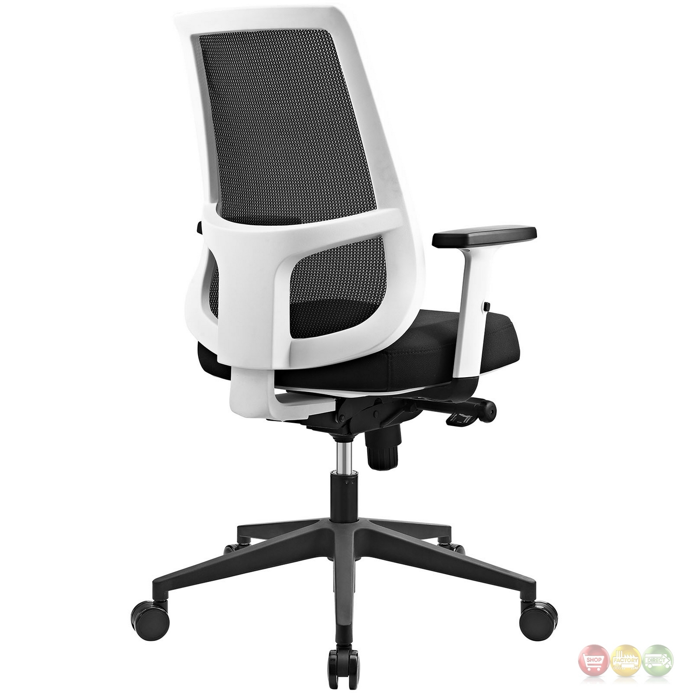 back support office chair velvet dining chairs uk pump ergonomic mesh w white frame
