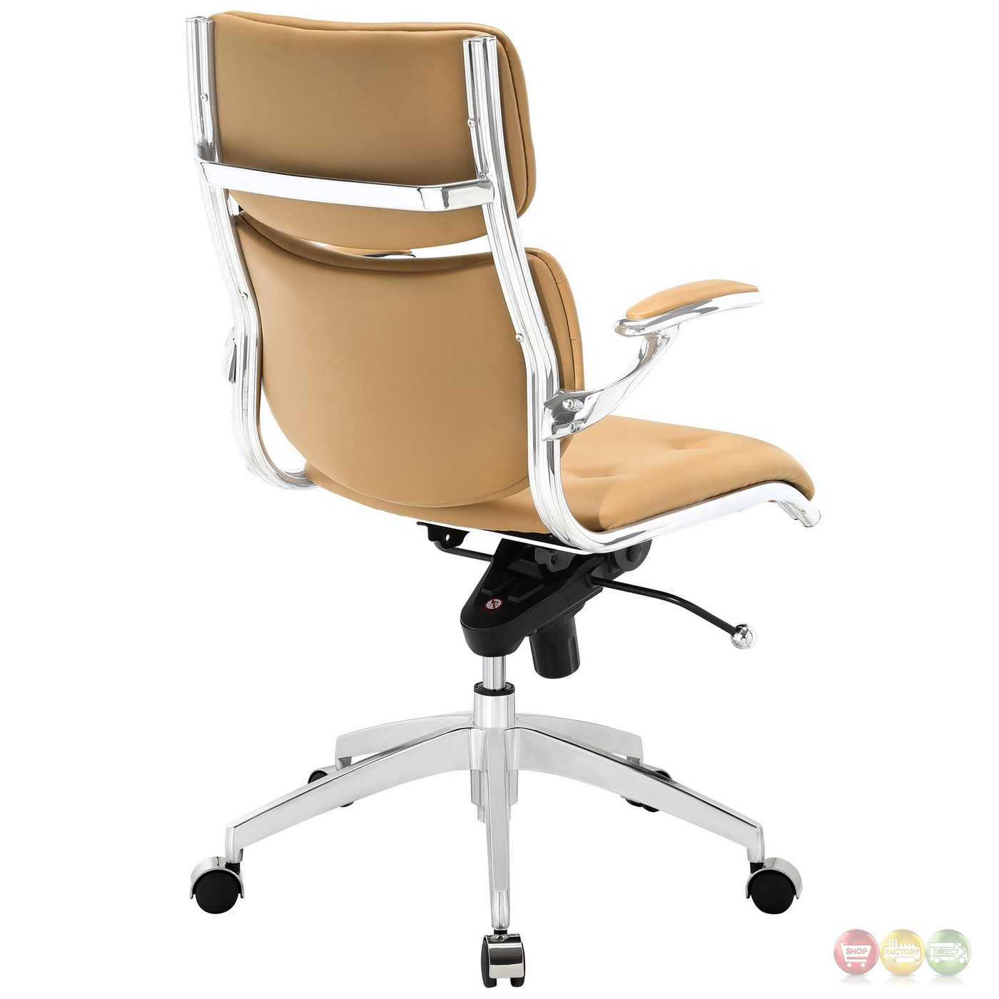 Tan Office Chair Push Modern Leatherette Upholstered Mid Back Office Chair Tan